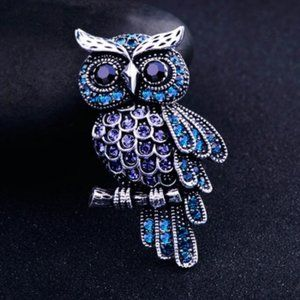 Blue And Purple Owl Lapel Pin Brooch